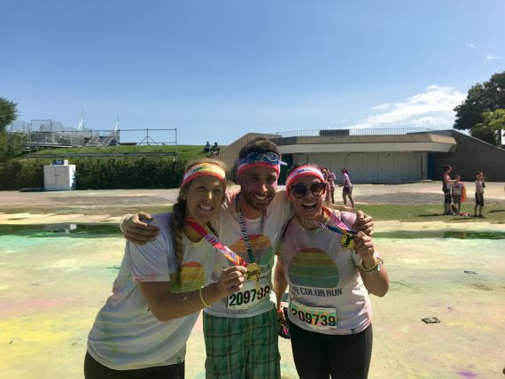 Showing their true colours, members of the Constance Lethbridge Neuro-Muscular-Skeletal team participated in the Color Run alongside clients of the rehabilitation facility. From left, Physiotherapist Jessy-Ann Lapointe, Special Care Counsellor Philippe Harrison and Occupational Therapist Léonie Blanchette.