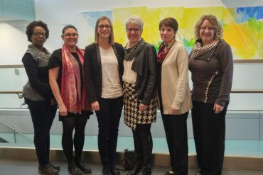 The Innovation team, from left: Administration Process Specialists Emmanuela Deloge, Émilie Fontenay and Éloïse Tougas-Leclerc, Associate Director Joanne Côté, Administrative Associate Michèle Lefort and Communications Specialist Julie Beauvilliers.