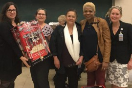 Sharon O'Grady (second from left), Head Nurse at the Catherine Booth Hospital, is the 2017 recipient of the Sally Sperry Award. Ms. O'Grady was recognized for her role in championing infection prevention at the rehabilitation facility. She accepted her prize from Silvana Perna (left) as Infection Prevention and Control Week wrapped up, on October 26. Also shown, from right, are Associate Director of Nursing Anna Pevreal and Assistant Head Nurses Glennis Collins and Liliane Chan-Taw.