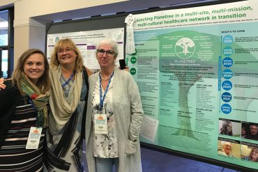 Krystle North, Advisor on the Quality team; Chantal Bellerose, Coordinator responsible for overseeing Planetree across the CIUSSS; and Brigitte Lavoie, Advisor on the Quality team, celebrate the CIUSSS's prize at the International Planetree Conference in Florida in October