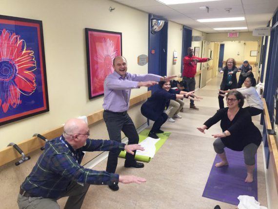 Participants get moving for the fitness challenge at Donald Berman Maimonides. From left: Daniel Pellerin, Head Nurse, 7th floor; Ivo Ivanov, Head Nurse, 6th floor; Abir El-Helou, Dietitian; and Brenda Barbalat (front, at right), Administrative Technician