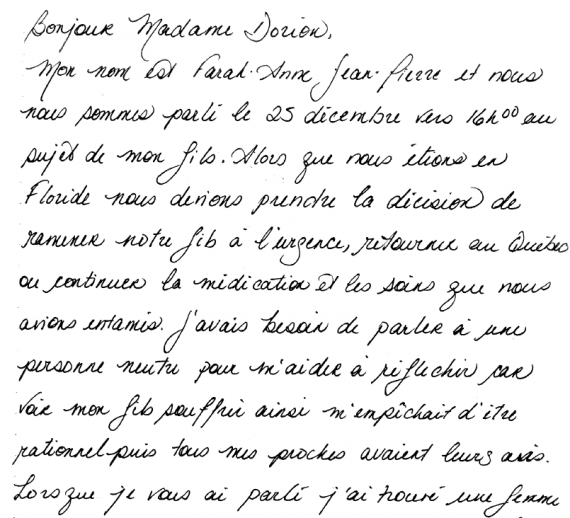 letter of appreciation to Info-Santé Nurse
