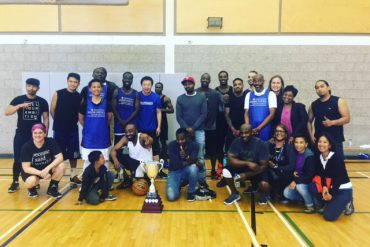 Team Maimonides (players in blue) won the Planetree trophy this year in a tight match against the Jewish Eldercare team at their annual staff basketball game.
