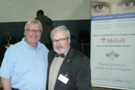 JGH Ophthalmic Technician Marc Renaud raising awareness about glaucoma at the Montreal North Health Fair, shown here (right) with Quebec Health Minister Gaétan Barrette.