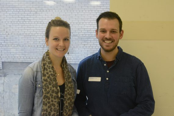 Representing the CIUSSS West-Central Montreal Mental Health and Addiction Department at the West-Central Mental Health Resource Fair are Social Worker Catherine Roberge of the PRISM Project, Assertive Community Treatment team along with Occupational Therapist Martin Lagacé, Coordinator of the Intensive Case Management team, both from CLSC Côte-des-Neiges.