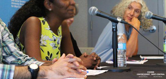 De gauche à droite, Alen, un Kurde qui a fui les persécutions politiques en Irak, et Asmaa, une Soudanaise réfugiée ici pour échapper à la discrimination sexuelle, partagent leur histoire lors de la Journée mondiale des réfugiés, en compagnie de Cécile Rousseau, directrice scientifique du Centre de recherche SHERPA.
