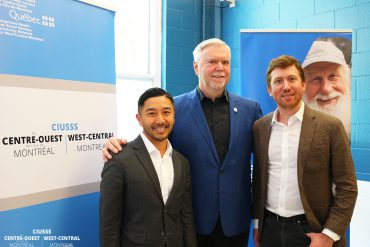 Key players in the implementation of the PRISM program, a collaboration between CIUSSS West-Central Montreal and the Welcome Hall Mission to help homeless men with mental health problems. From left: Tung Tran, CIUSSS Assistant Director, Mental Health and Addiction Programs; Samuel Watts, CEO and Executive Director of the Welcome Hall Mission; and Psychiatrist Vincent Laliberté, head of the PRISM program.