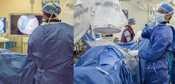 Composite photo of Dr. Jeff Golan performing a spinal endoscopy. Above, he manipulates an ultra-thin surgical tool that has been inserted through a very narrow metal tube into the patient's spine. Below, Dr. Golan watches a pair of screens that show two x ray views of the spine (at left and centre) and real-time video of the impact of his tiny tool on spinal tissue