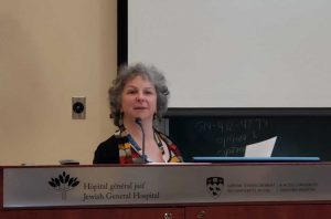 """Art Therapist Sondra Goldman accepting the Public Choice Award for the project """"Art Hive (art therapy), a tool for creativity and community involvement at the Donald Berman Maimonides Geriatric Center"""""""