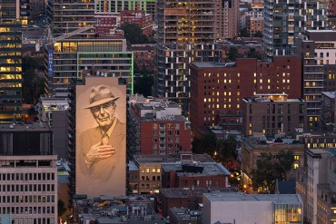 First prize: Vidette Uon. Tower of Songs, the magnificent mural paying tribute to Leonard Cohen, seen from the Mount Royal belvedere.