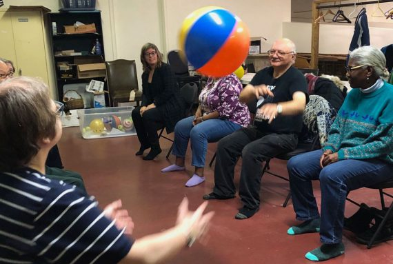 Participants at the New Hope Seniors Centre in Notre-Dame-de-Grâce practice coordination skills as part of the STAND UP! program