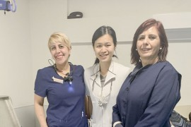 The dental team at Henri Bradet residential centre: Dental hygienist Tinoosh Dibamehr, Dentist Dr. Rachel Lin, Dental assistant Martha Lopez