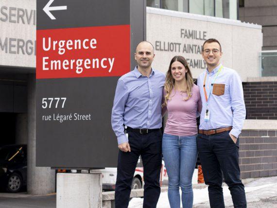 Membres du Département d'urgence de l'HGJ de la gauche vers la droite : Jonathan Harroche (infirmier-chef adjoint), Kayla Feola (infirmière) et Victor Uscatescu (conseiller en enseignement infirmier)