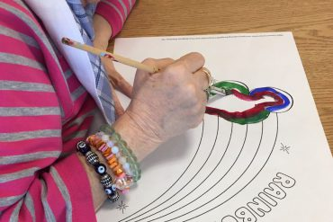 """At the Donald Berman Maimonides Geriatric Centre, residents make rainbows with the help of staff. """"It's a symbol of peace and hope,"""" says Therapeutic Recreation Specialist Shoshana Friedman"""