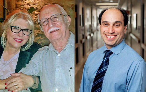 When Antonio José Santiago (left) began exhibiting symptoms of a stroke at home, his wife, Eunice Gomes Santiago, used Zoom to connect to Dr. Mark Karanofsky, who confirmed what was happening and advised them what to do next