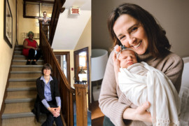 Shortly after Nicole-Ann Shery (right) gave birth to Kayla on March 3, the COVID 19 lockdown began. She used telehealth to stay in touch with her midwife, Kathleen McDonald (top of staircase), who is shown in the Côte-des-Neiges Birthing Centre with midwife Yvette Munezero (centre) and Maëcha Nault, Head of Midwife Services. (Photo at right courtesy of Reina Price.)