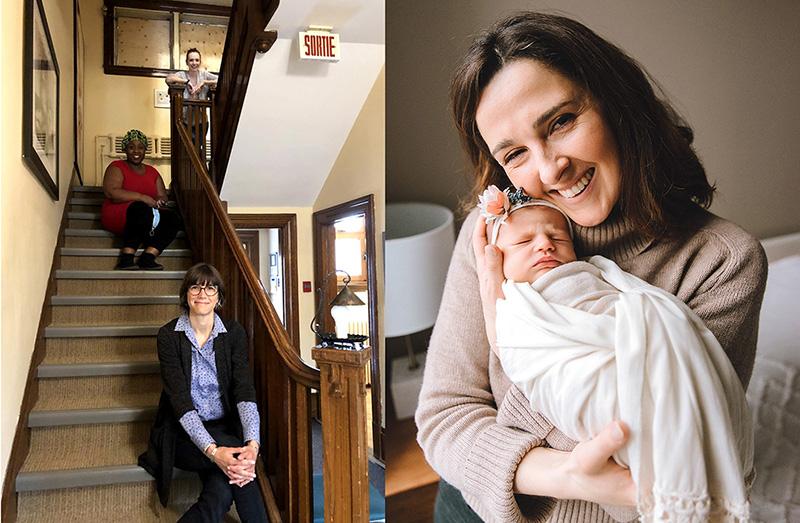Le confinement de la COVID-19 a commencé peu de temps après que Nicole-Ann Shery (à droite) ait accouché de Kayla, le 3 mars. Elle a tiré parti de la télésanté pour rester en contact avec sa sage-femme, Kathleen McDonald (en haut de l'escalier), ici à la Maison de naissance Côte-des-Neiges en compagnie des sages-femmes Yvette Munezero (au centre) et Maëcha Nault, responsable des Services de sages-femmes. (Photo à gauche avec l'autorisation de Reina Price.)