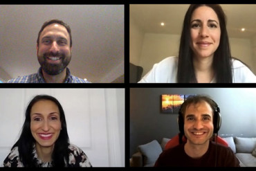 Members of the Digital Health team gather online for a video conference. Top, from left: Michael Shulha, Dr. Justin Cross and Sabine Cohen. Bottom, from left: Danina Kapetanovic, Anna D'Ambra and William Laurin (of the Telehealth Support Centre)