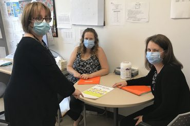 Some members of the COVID-19 Prevention Team that worked with daycares during the summer. Left to right: Hamida Medjnoun, Clinical activities specialist; Hélène Mongeon, Nurse; and Pamela Maxwell, Nurse.
