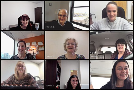 Members of the COVID-19 SWAT team meet online for one of their regular sessions. Top row, from left: Diane Brault, Marcelo Busignani, Fanny Bourgeois. Middle row, from left: Manon Labine, Julie Dwyer, Brenda Lecouteur. Bottom row, from left: Chantal Bellerose, Kathryn Verville- Provencher, Habiba Boutaleb
