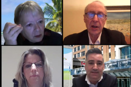 Presentations at the CIUSSS's Public Information Meeting were made via Zoom by (top, from left) Francine Dupuis, Associate CEO; Dr. Lawrence Rosenberg, President and CEO; Alan Maslin, President of the Board of Directors; (bottom, from left) Carrie Bogante, Director of Finance; Dan Gabay, Assistant Executive Director; and Maude Laliberté, Commissioner of Complaints and Quality of Service.