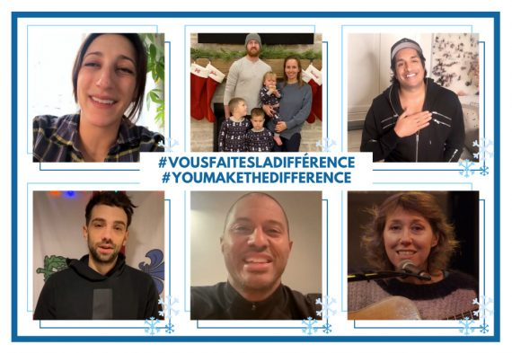 Some of the Montreal personalities who delivered messages of thanks to our healthcare employees. Top row, from left: Singer Florence K, Habs defenseman Jeff Petry and his family, and comedian Sugar Sammy. Bottom row, from left: Actor Jay Baruchel, Montreal Impact Assistant Coach Patrice Bernier, and singer-songwriter Martha Wainwright
