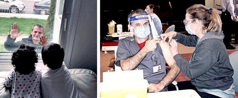 À gauche, l'infirmier Hossein Mansouri voit ses enfants par la fenêtre de son domicile, en mai 2020. À droite, M. Mansouri se fait vacciner contre la COVID 19, le 17 décembre 2020.
