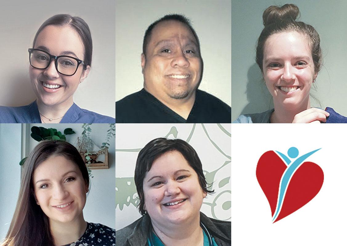Cinq employés de l'HGJ reçoivent la récompense Au-delà des soins. Rangée du haut, de gauche à droite : Maya Verdy, Glenn Padida, Stephanie Treherne. Rangée du bas, de gauche à droite : Katja Teixeira, Marie-Élaine Barbeau.