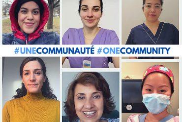 Certains employés du CIUSSS qui diffusent les messages dans différentes langues à l'appui de la vaccination. Rangée du haut, de gauche à droite : Sanaz Azizi, Institut Lady Davis à l'HGJ (persan), Mila Touvykina, conseillère en Soins infirmiers au Centre gériatrique Maimonides Donald Berman (russe), Wilbren Joy Yuipco, infirmière auxiliaire à l'HGJ (tagal et cebuano). Rangée du bas, de gauche à droite : Maya Cerda, chef d'administration de programme, CREGÉS (espagnol), Ghada Hajasa'ad, agente administrative, Archives médicales de l'HGJ (arabe), Yunan Zhou, infirmière, Clinique d'urologie à l'HGJ (mandarin).