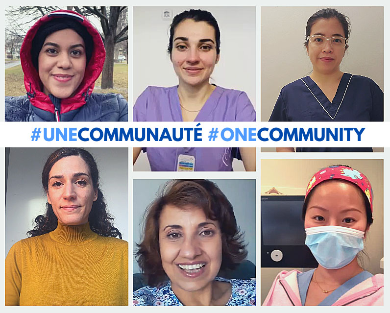 Some of the CIUSSS employees who delivered vaccination messages in various languages. Top row, from left: Sanaz Azizi, Lady Davis Institute at the JGH (Farsi), Mila Touvykina, Nursing Consultant at Donald Berman Maimonides Geriatric Centre (Russian), Wilbren Joy Yuipco, Licensed Practical Nurse at the JGH (Tagalog and Cebuano). Bottom row, from left: Maya Cerda, Program Manager, CREGÉS (Spanish), Ghada Hajasa'ad, Administrative Agent, JGH Medical Records (Arabic), Yunan Zhou, Nurse, JGH Urology Clinic (Mandarin).